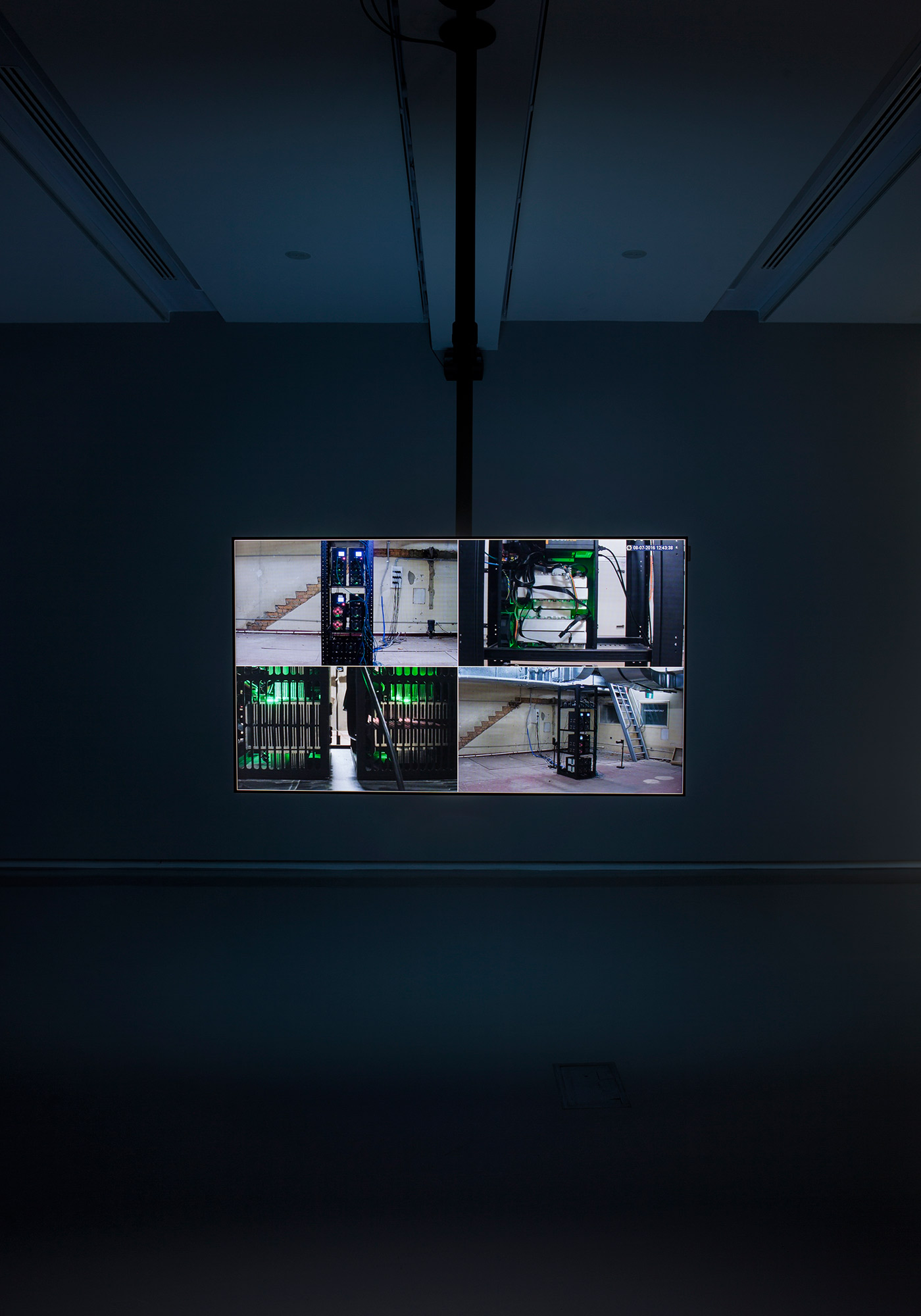 Nicholas Mangan, *Limits to Growth*, 2016, single channel HD video, sound, colour, 7:56, continuous loop. Installation view, Monash University Museum of Art, Melbourne, 2016. Photographer: Andrew Curtis.