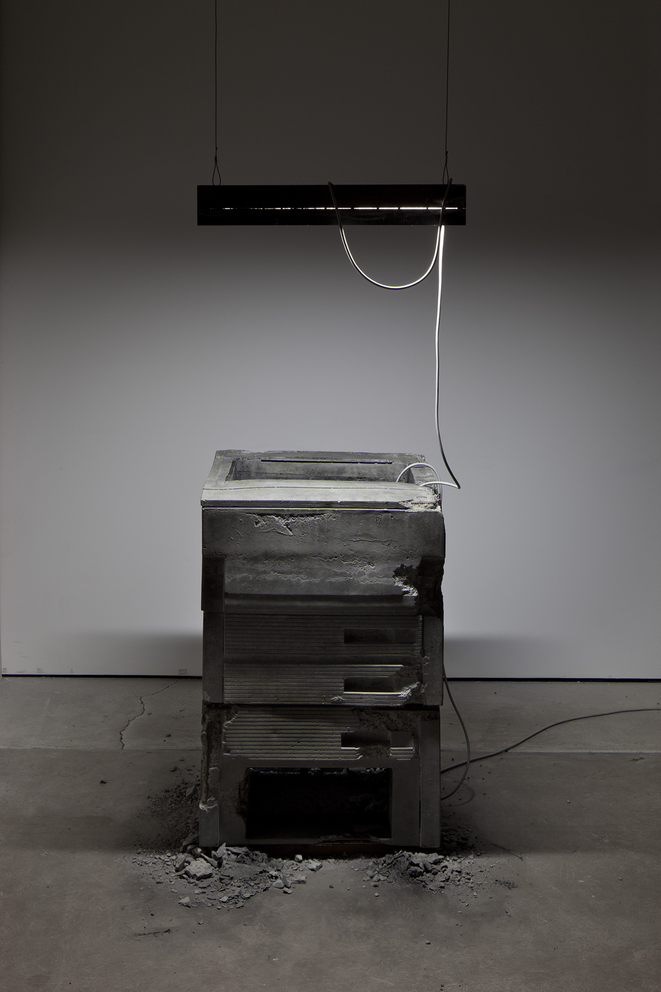 _Some Kinds of Duration_, 2011. Installation View, CCP - Centre for Contemporary Photography, Melbourne Australia, 2012. HD video colour, silent, concrete, fluorescent light, steel, carbon.