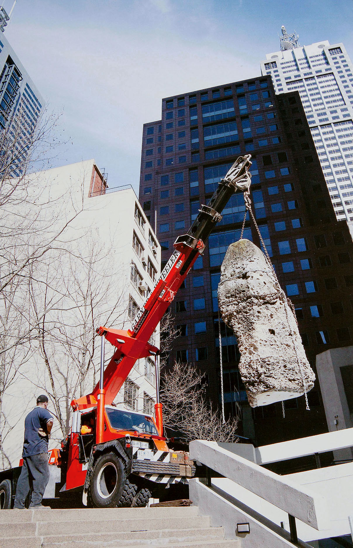 August 28, 2005. The Limestone Pinnacles at Nauru House in Melbourne, Victoria in the process of being relocated to Flinders. Photographer: Peter Glenane/Newspix. Copyright: News Corp Australia.
