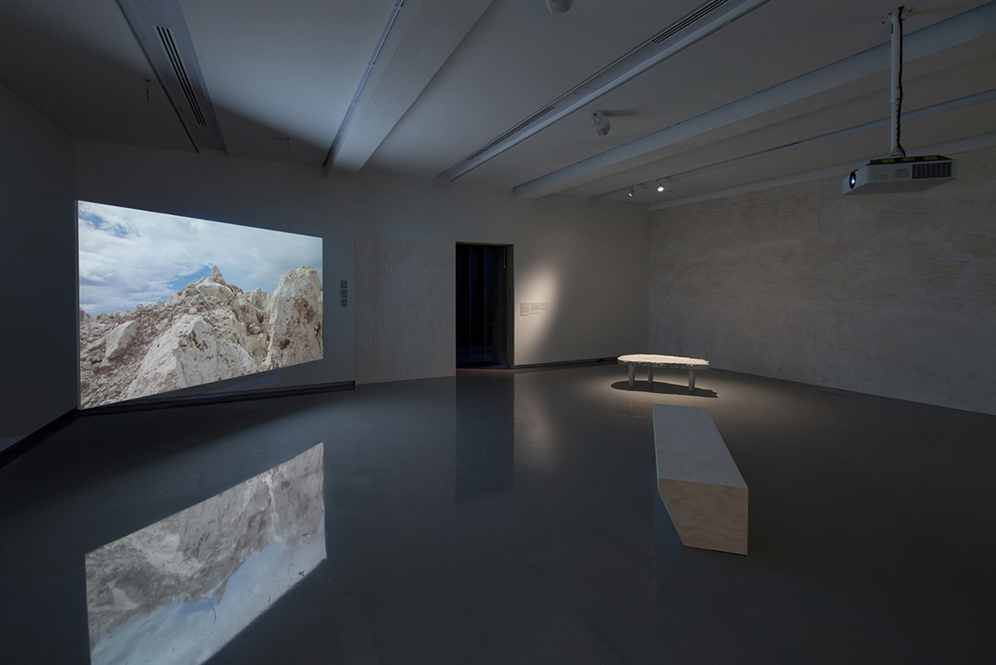 Nicholas Mangan, Nauru—Notes from a Cretaceous World, 2010. Installation view, Monash University Museum of Art, Melbourne, 2016. Photographer: Andrew Curtis.