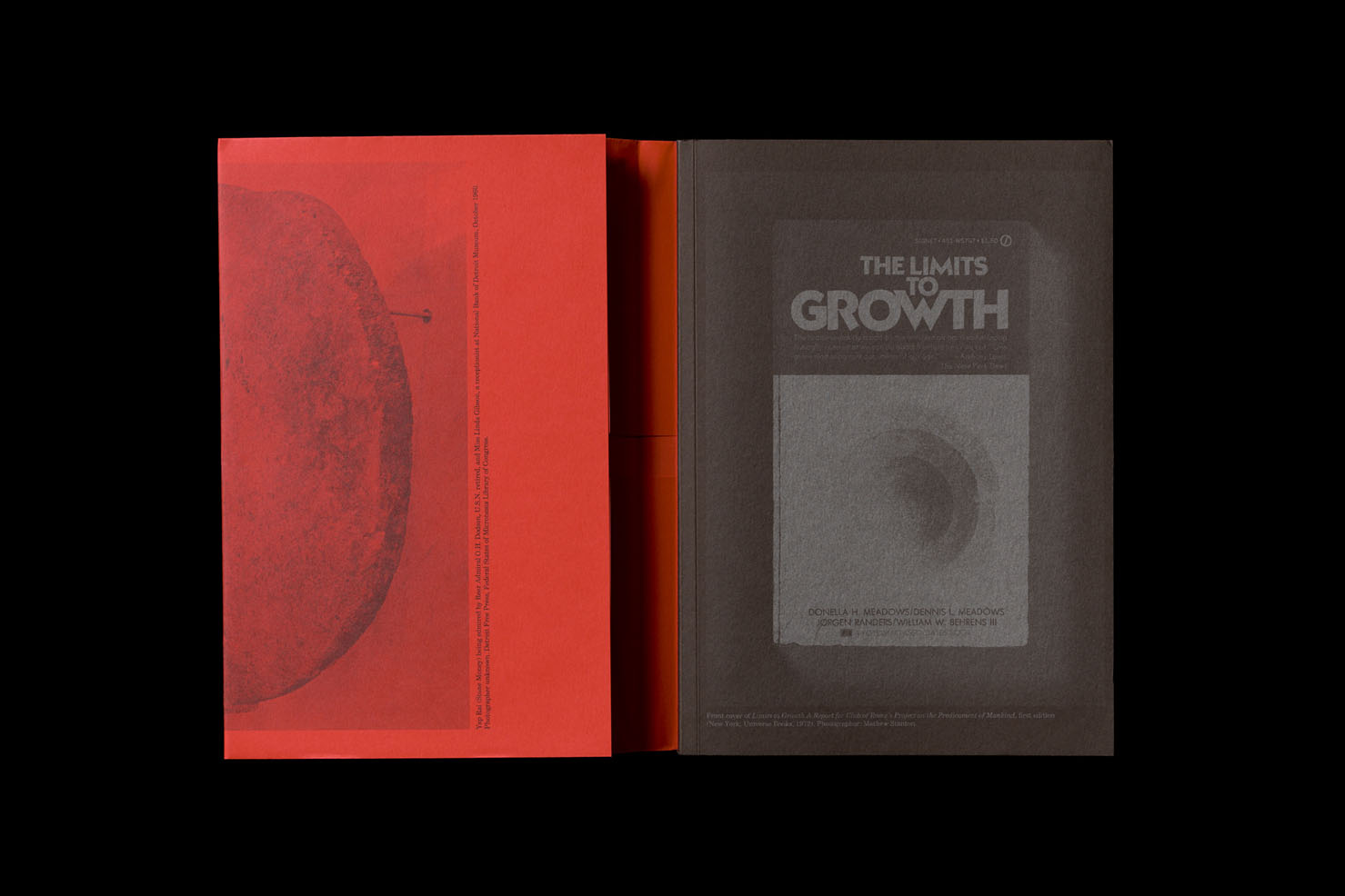 Nicholas Mangan: Limits to Growth. Softcvoer, 246 pp + 2 inserts, offset, edition of 1500, 170 x 240 mm. Design by Žiga Testen. ISBN 978-3-95679-252-6. Copublished with the Institute of Modern Art, Brisbane; KW Institute for Contemporary Art, Berlin; and Monash University Museum of Art, Melbourne